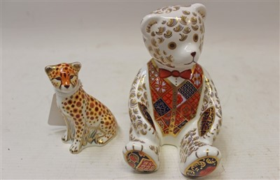 Lot 2025-Royal Crown Derby limited edition Goviers of Sidmouth 1988 Teddy paperweight – Red Bow Tie, no. 714 of 950, boxed with certificate, plus Goviers Cheetah Cub, boxed (2)