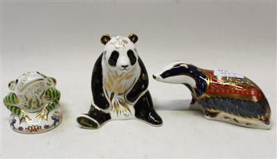 Lot 2027-Three Royal Crown Derby limited edition paperweights – Harrods Giant Panda, no. 90 of 250, Riverbank Beaver no. 4858 of 5000 and Toad no. 2048 of 3500, all boxed