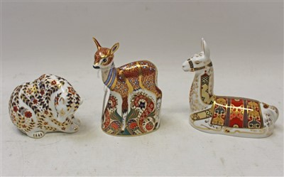 Lot 2028-Three Royal Crown Derby paperweights – Fawn, Llama and Russian Bear, all boxed