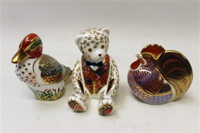 Lot 2029-Three Royal Crown Derby paperweights – Green Winged Teal, Teddy Bear and Cockerel, all boxed
