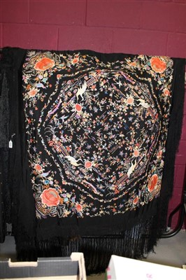 Lot 3059-Chinese embroidered silk piano shawl