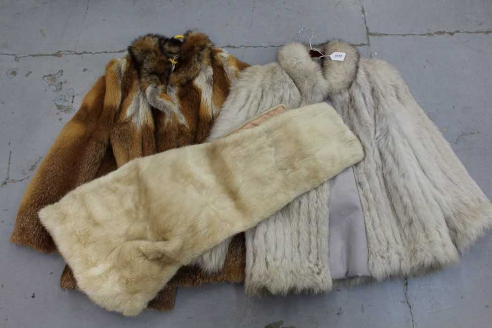 Lot 3058-Silver Fox fur jacket, Red fox fur jacket  and a mink wrap.