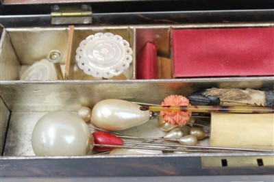 Lot 3062-Coromandel Sewing Box and contents