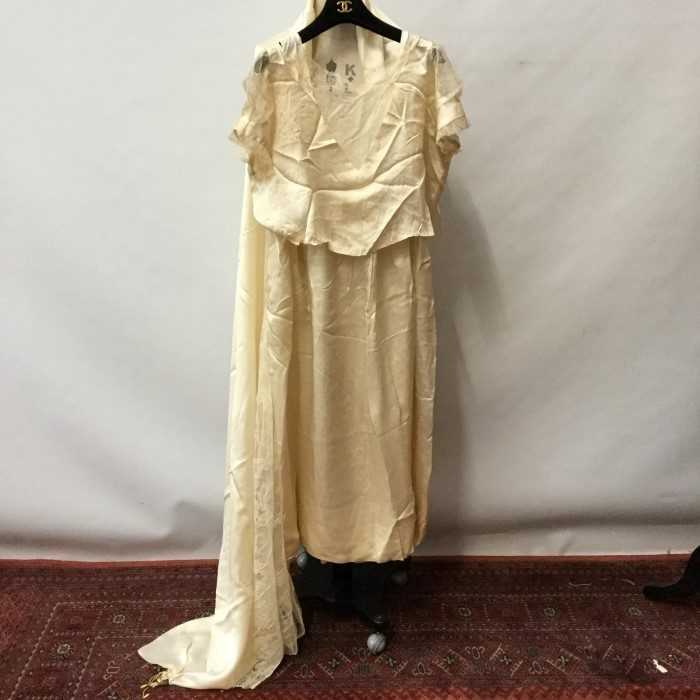 Lot 3063-1920s fine lingerie and silk wedding dress