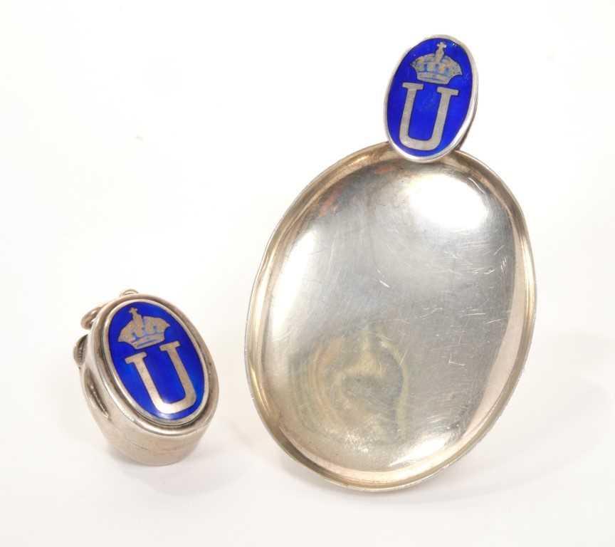 Lot 7-HM King Umberto I of Italy (1844 – 1900) Royal silver, enamel caddy spoon and similar Royal pillbox