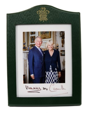 Lot 12-TRH The Prince of Wales and The Duchess of Cornwall – signed Royal Presentation portrait photograph