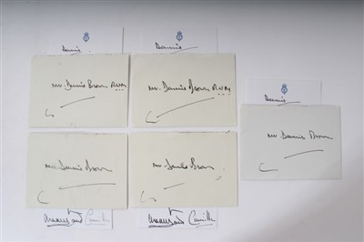 Lot 14-TRH Prince Charles and The Duchess of Cornwall, five signed, inscribed cards to Mr Dennis Brown RVM