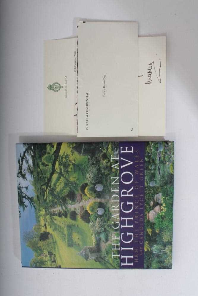 Lot 16-HRH Prince Charles Prince of Wales, book 'The Garden at Highgrove', signed 'Charles 2000'