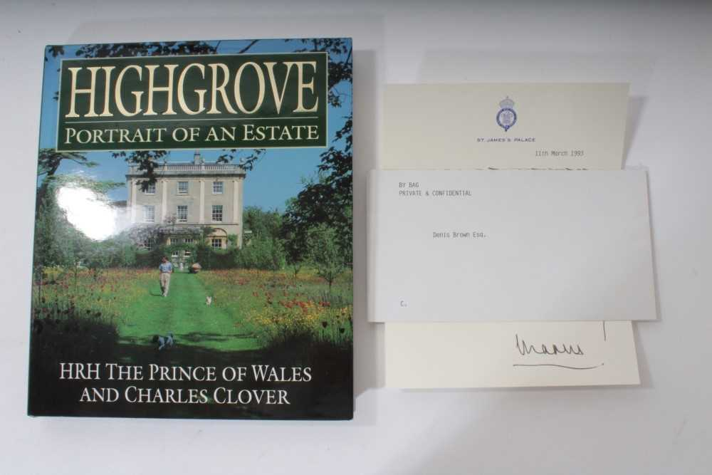 Lot 17-HRH Prince Charles Prince of Wales, signed and inscribed book 'Highgrove Portrait of an Estate'