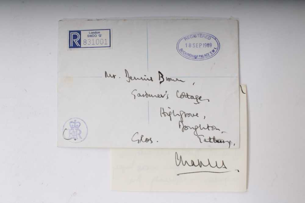 Lot 18-HRH Prince Charles Prince of Wales, handwritten letter on Prince of Wales crested notepaper