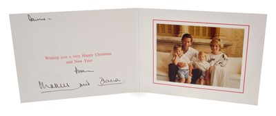 Lot 21-TRH The Prince and Princess of Wales – signed 1987 Christmas card, inscribed, sent to Dennis Brown