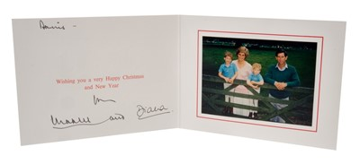 Lot 22-TRH The Prince and Princess of Wales – signed 1988 Christmas card, inscribed, sent to Dennis Brown