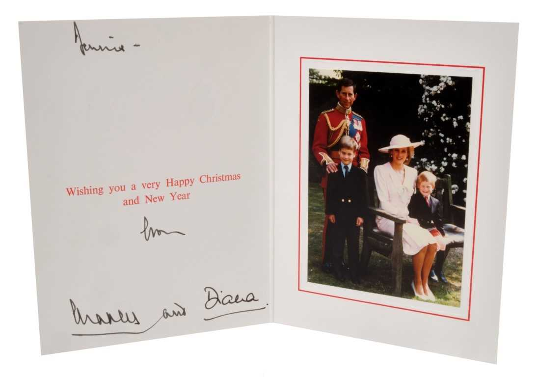 Lot 23-TRH The Prince and Princess of Wales – signed 1989 Christmas card, inscribed, sent to Dennis Brown