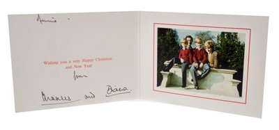 Lot 24-TRH The Prince and Princess of Wales – signed 1990 Christmas card, inscribed, sent to Dennis Brown
