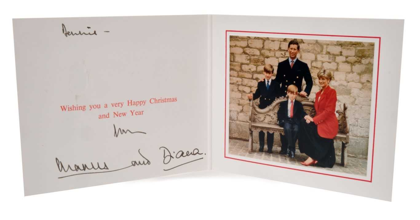 Lot 25-TRH The Prince and Princess of Wales – signed 1991 Christmas card, inscribed, sent to Dennis Brown