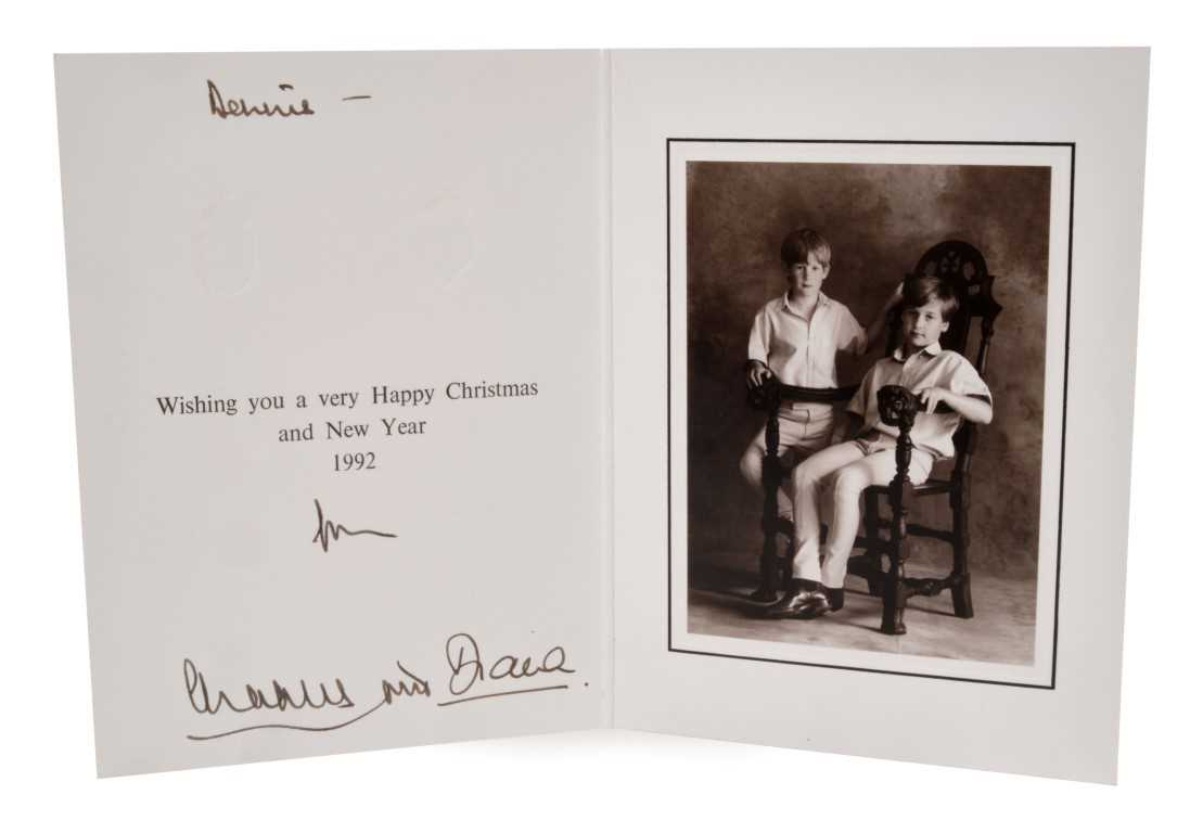 Lot 26-TRH The Prince and Princess of Wales, signed 1992 black and white photograph of the soulful Princes