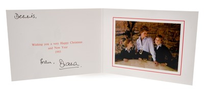 Lot 27-Diana Princess of Wales, signed 1993 Christmas card, colour photograph of The Princess with her sons