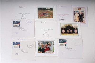 Lot 29-HRH Prince Charles Prince of Wales, four signed, inscribed 1990s Christmas cards