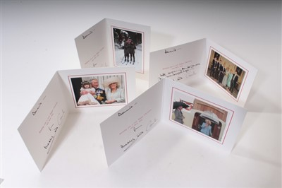 Lot 32-TRH Prince Charles Prince of Wales and Camilla Duchess of Cornwall, four 2000s signed cards