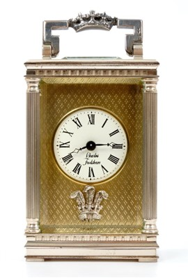 Lot 35-The Wedding of HRH Prince Charles Prince of Wales to Lady Diana Spencer, silver carriage clock