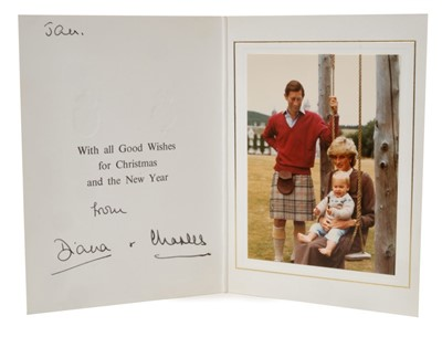 Lot 37-TRH The Prince and Princess of Wales – signed 1983 Christmas card inscribed by Princess Diana