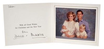 Lot 38-TRH The Prince and Princess of Wales – signed 1984 Christmas card inscribed by Princess Diana