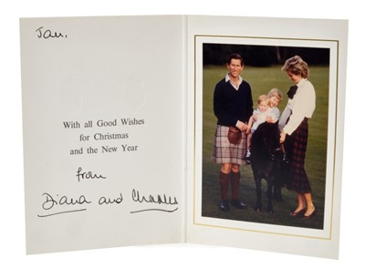 Lot 39-TRH The Prince and Princess of Wales – signed 1985 Christmas card inscribed by Princess Diana