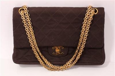 Lot 3067-Chanel Brown Fabric Handbag