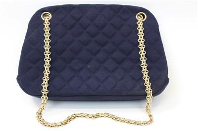Lot 3069-Chanel Navy Fabric Handbag