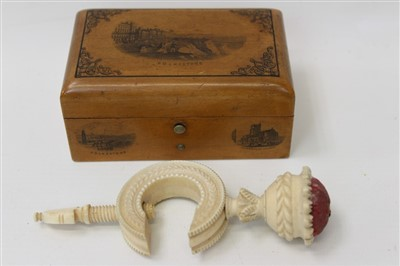 Lot 3088-Early Victorian ivory pin cushion/needlework clamp and a Mauchline ware Folkestone box (2)