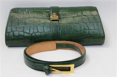 Lot 3083-Mulberry Green Mock Croc Leather Handbag and Belt