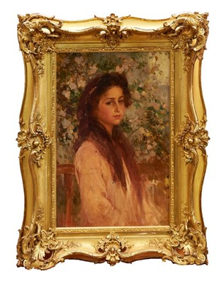 Lot 1175-Alois Hans Schram (1864-1919) oil on board - portrait if a young lady in a garden, signed and dated 1900, in gilt frame, 52cm x 34cm
