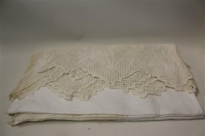 Lot 3086-Fine cream silk embroidered shawl, an Irish linen and crochet table cloth etc.