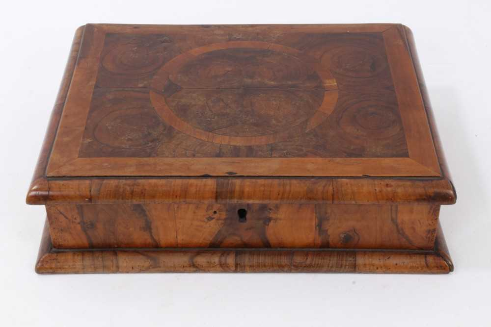 Lot 800-William and Mary style laburnums oyster veneered lace box