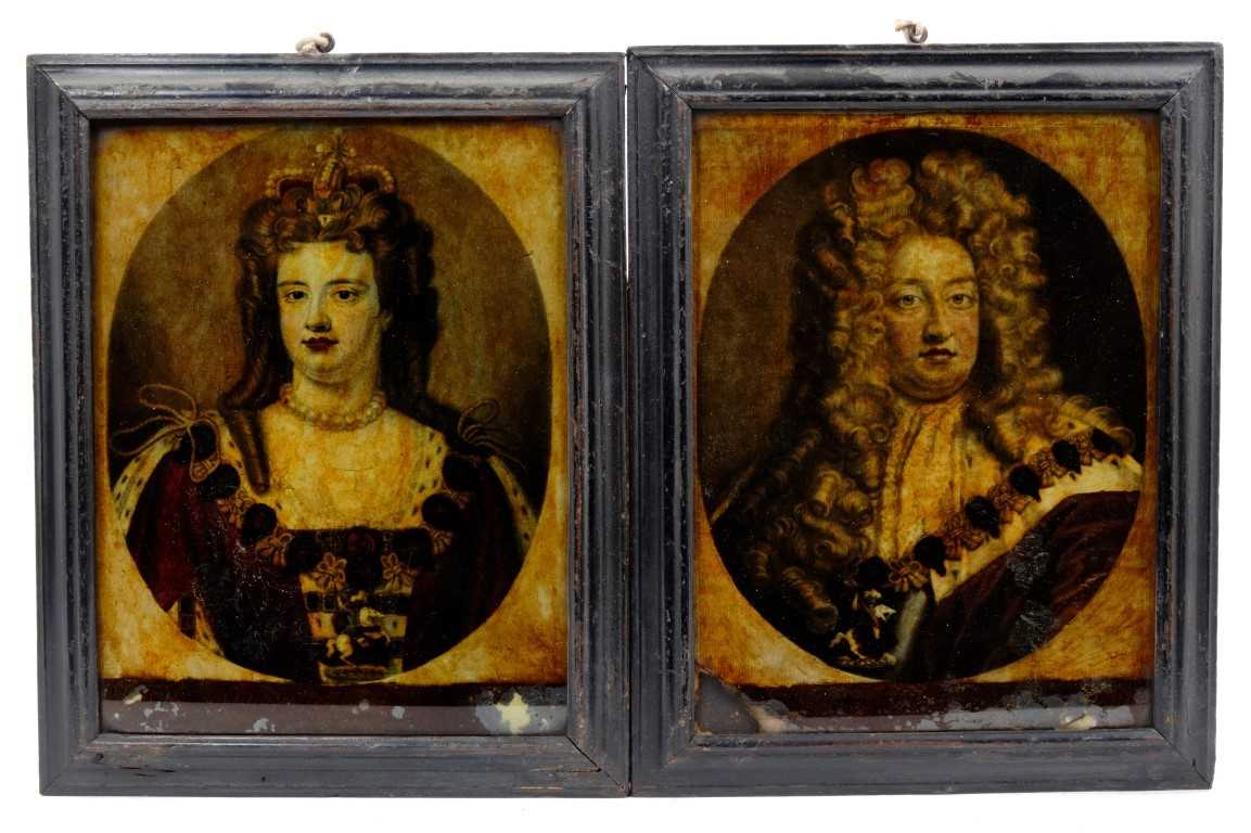 Lot 801-Pair of Early 19th century reverse prints on glass of William and Mary