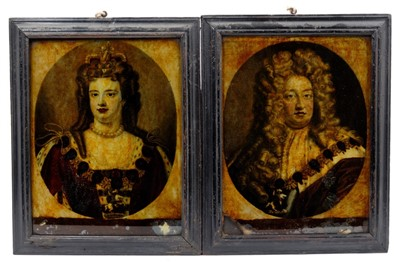 Lot 801 - Pair of Early 19th century reverse prints on glass of William and Mary