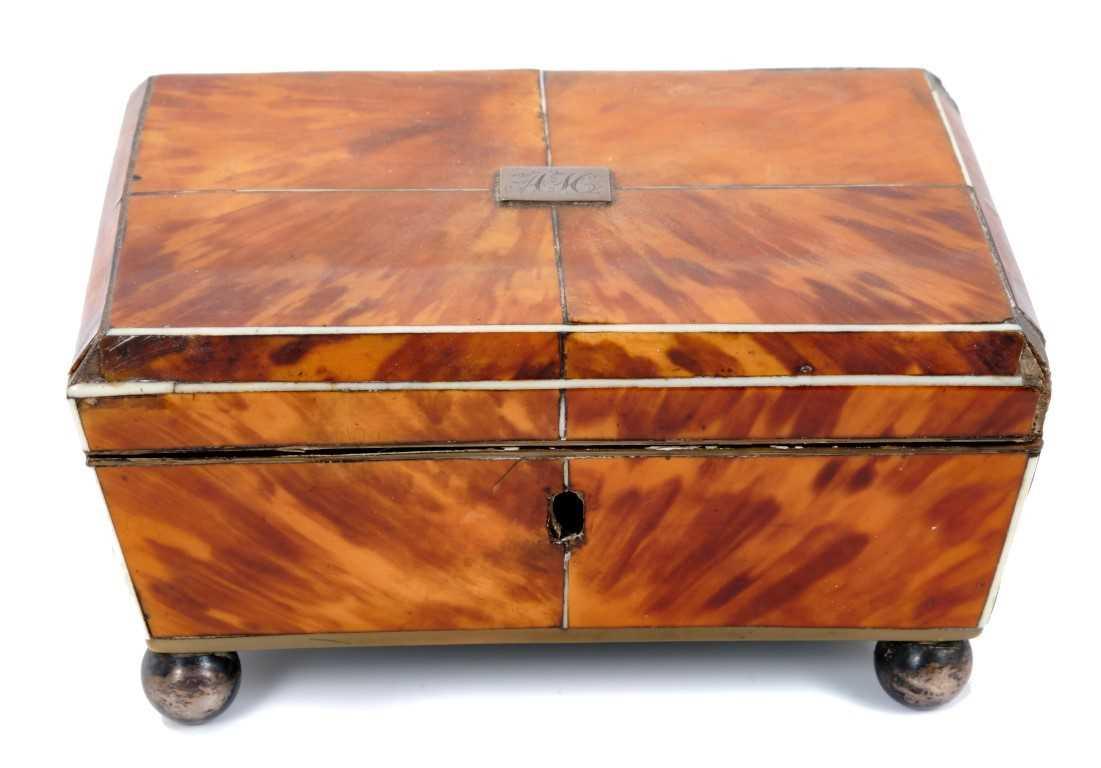 Lot 802-Regency blond tortoiseshell work box