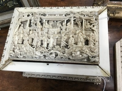 Lot 804-Good 19th Century Chinese Canton carved ivory casket