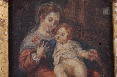 Lot 805-Late 18th/early 19th Century oil on panel of the Mother and Child