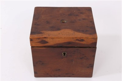 Lot 808-Rare George III yew wood tea caddy