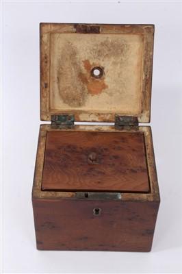 Lot 808-Rare George III yew wood tea caddy