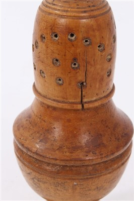 Lot 811-18th century turned sycamore pepper castor