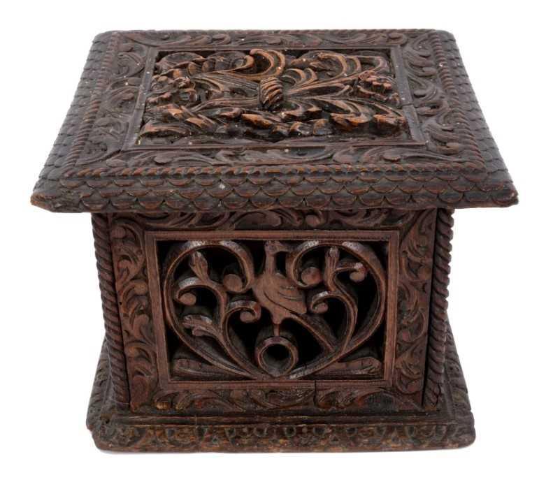 Lot 820-18th century Continental carved oak casket