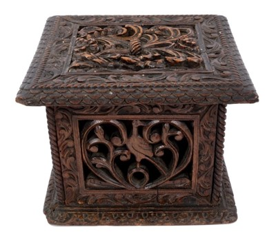 Lot 820-18th century Continental carved oak casket