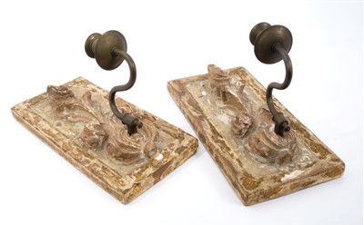 Lot 821-Pair of 18th century carved lime wood wall sconces