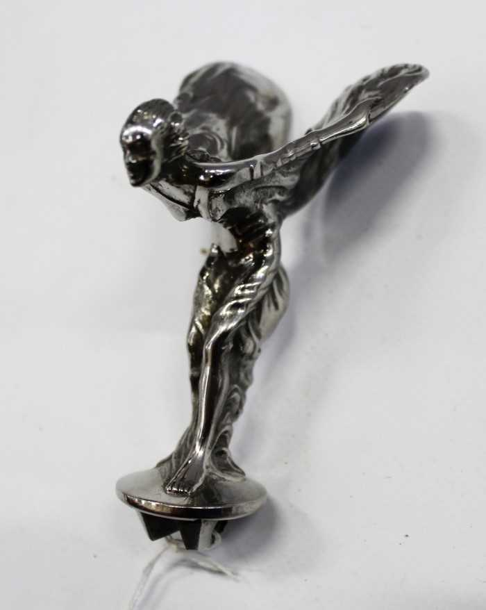 Lot 2955-Rolls-Royce Spirit of Ecstasy standing car mascot as fitted to Rolls-Royce Silver Shadow models, 10cm high