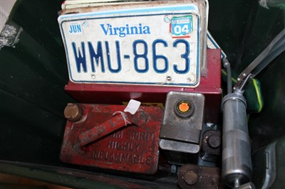 Lot 2957-Five old petrol cans – including Esso, jerry can, Minor steering wheel, Rover 200 grill and sundry automobilia