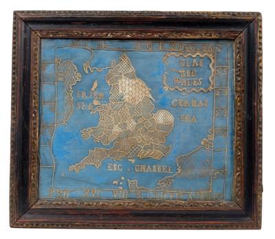 Lot 825 - Rare 18th century lacework map sampler