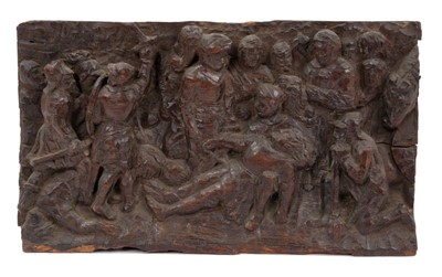 Lot 833 - Early carved oak panel