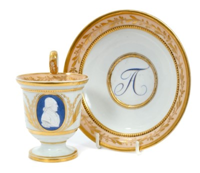 Lot 168-Fine early 19th century Meissen cabinet cup and saucer